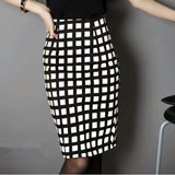 Plaid High Waist Pencil Skirt