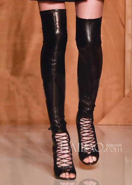 Full Grain Leather Open Toe Lace Up Thigh High Boots