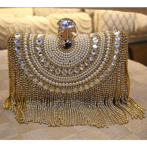 Crystals and Tassels Evening Clutch Bag