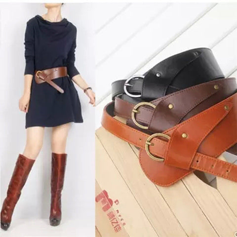 Leather Vintage Oblique Buckle Wide Strap Belt