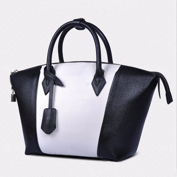 Genuine Leather 2 Tone Luxury Handbag
