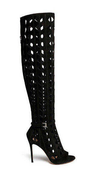 Knee High Boots Gladiator High Heel Suede Boots Cut-outs Peep Toe