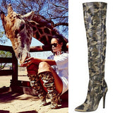 Thigh High Gladiator Sandal Boots Sexy Camouflage Military