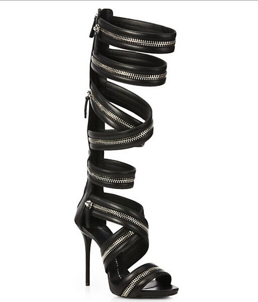 Genuine Leather Knee High Motorcycle Gladiator High Heels Sandals