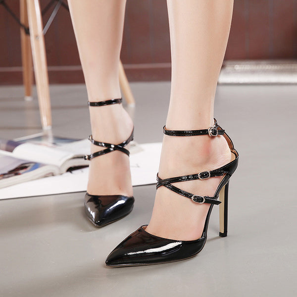 Genuine Leather Strappy Mule High Heel