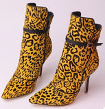 Handmade Fur and Leather Leopard Print Stiletto Ankle