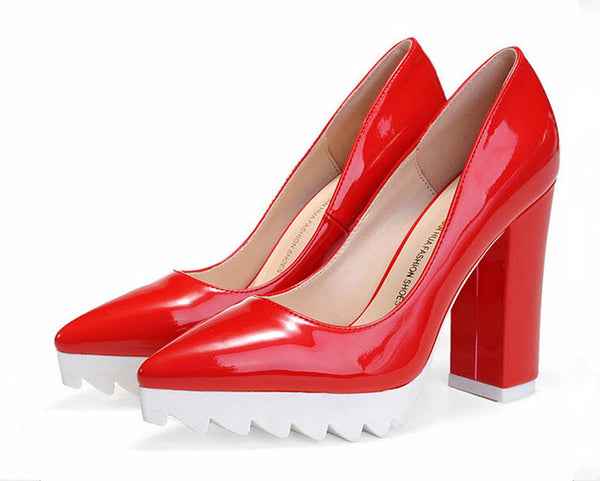 Non-Slip Patent Leather Platform High Heel Pumps