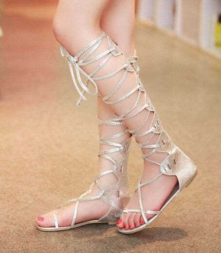 Cross Straps Flat Gladiator Sandals