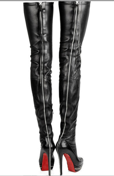 f100d381433 Red Bottom Genuine Leather Thigh High Boots