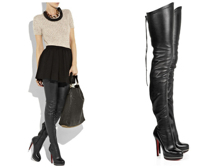 new arrival e5f67 0f5b4 Red Bottom Genuine Leather Thigh High Boots - Reviews
