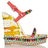 Red Bottom Laser Rivets Hand-Printed Platform Wedge Sandals