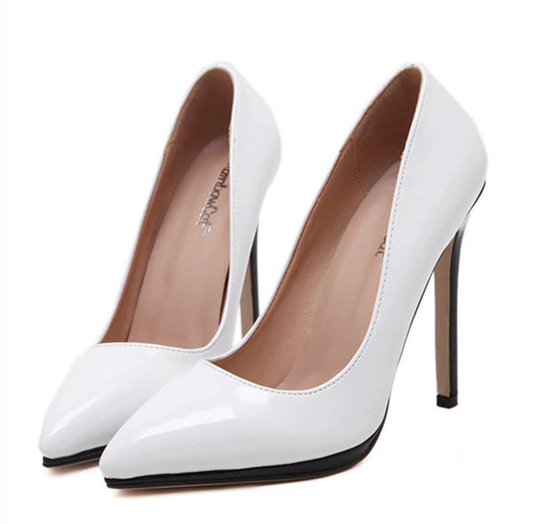 Patent Leather Contrast Color Platform Pointed Toe High Heels Pumps