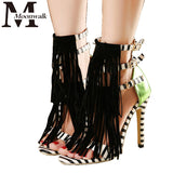 Striped Fringe  High Heel Sandals