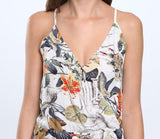 Tropical Print Spaghetti Strap V-neck Cross Back Jumpsuit