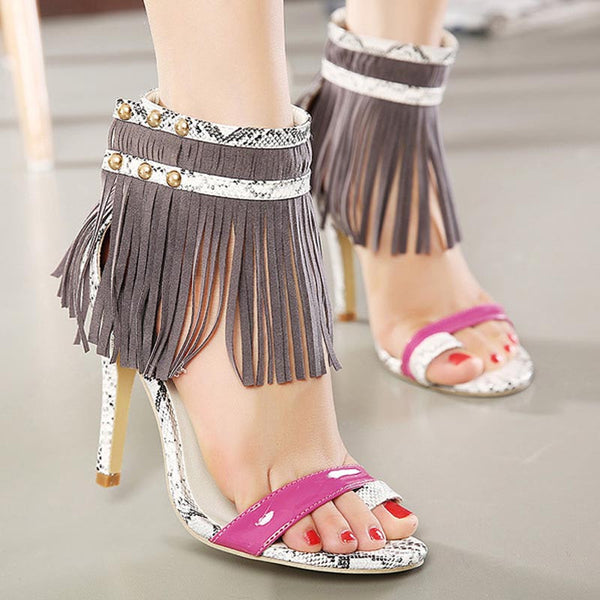 Fringe Tassel High Heel Sandals