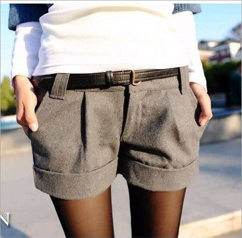 Winter Turn-up Straight Woolen Bootcut Shorts