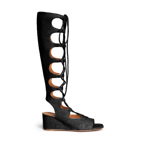 Genuine Leather Gladiator Wedges