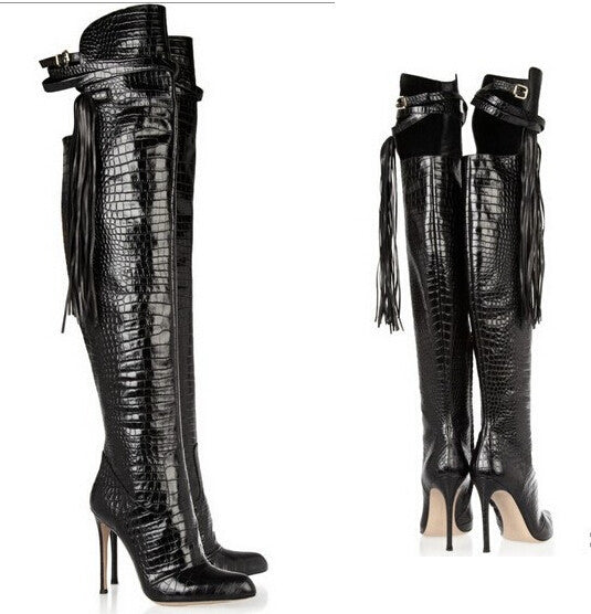 6b3781a0aa2 Snakeskin Over The Knee Thigh High Boots – THULI NYC