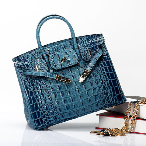 3D Moc Alligator Genuine Leather Handbag