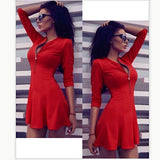 Tunic V-neck 3/4 Sleeve Solid Pleated Bodycon A-LIne Dress