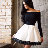 Long Sleeved Off Shoulder Strapless Slash Dress