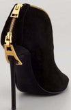 All Around Gold Zipper Handmade Suede Leather Ankle Boots