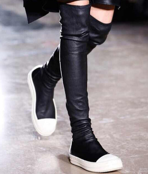 Genuine Leather Thigh High Sneaker Boots