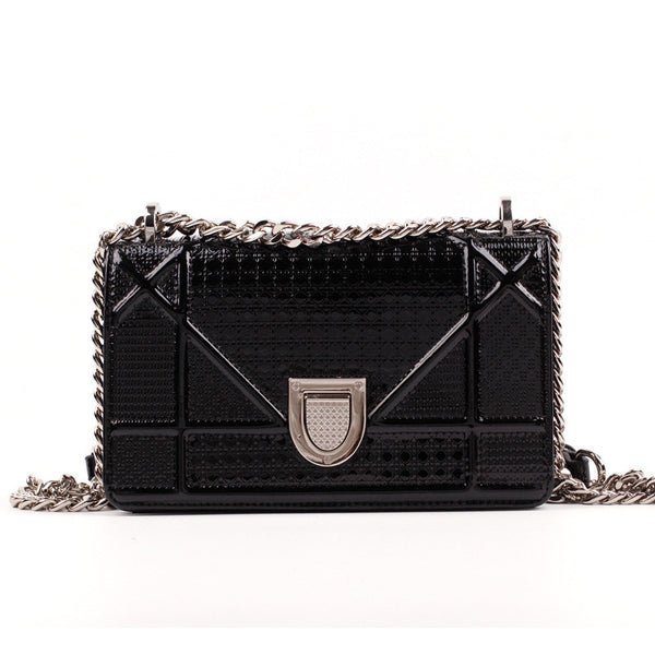 Genuine Leather Metallic Mini Crossbody Bag