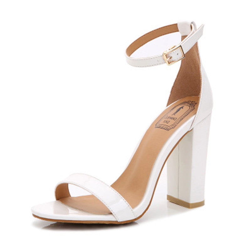 e24e04ffc51 Bohemia Patent Leather Thick Square High Heel Sandals – THULI NYC