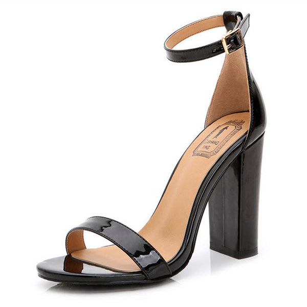 Bohemia Patent Leather Thick Square High Heel Sandals