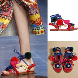 High Street Fashion Pom Pom Flat Sandals
