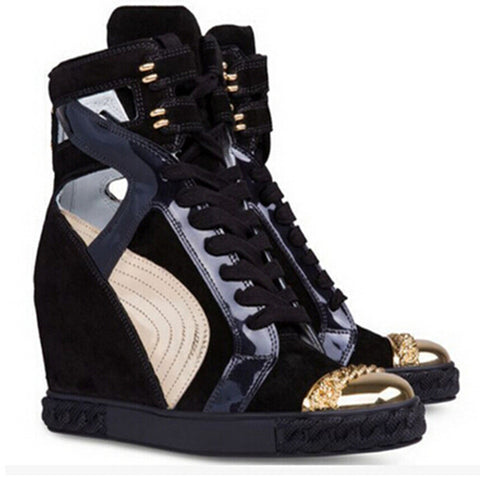 Genuine Leather Hi-Top Hidden Platform Wedge Sneakers