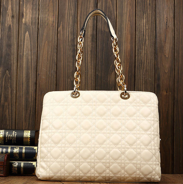 Diamond Lattice Leather Chain Handbag