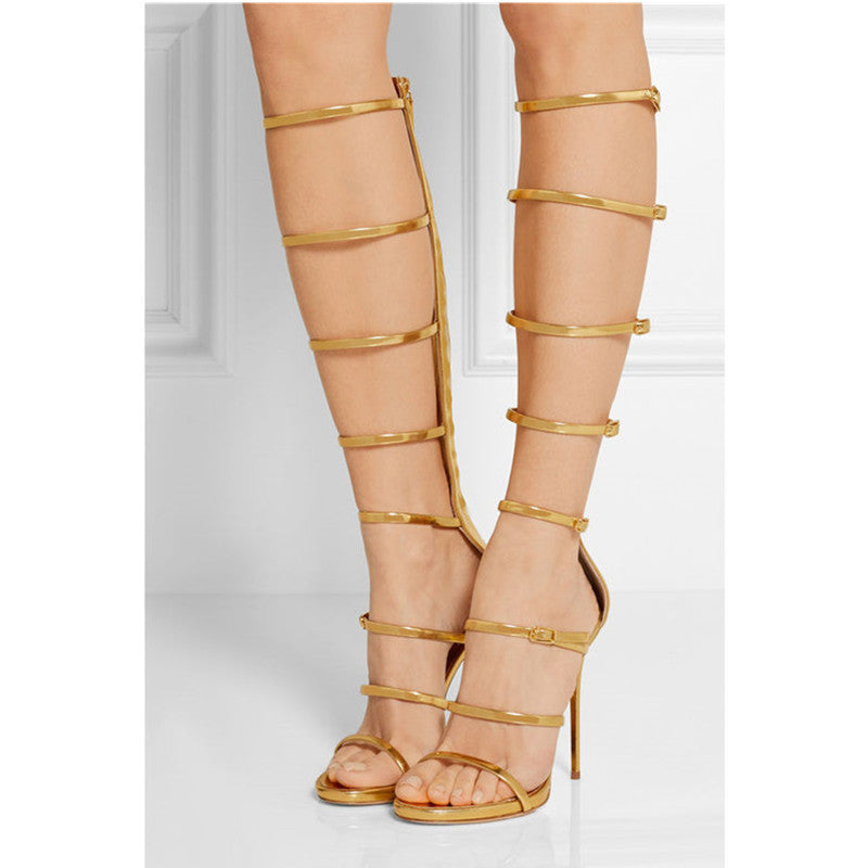 Knee Caged High Buckles Heels Gladiator qSzMpGUV