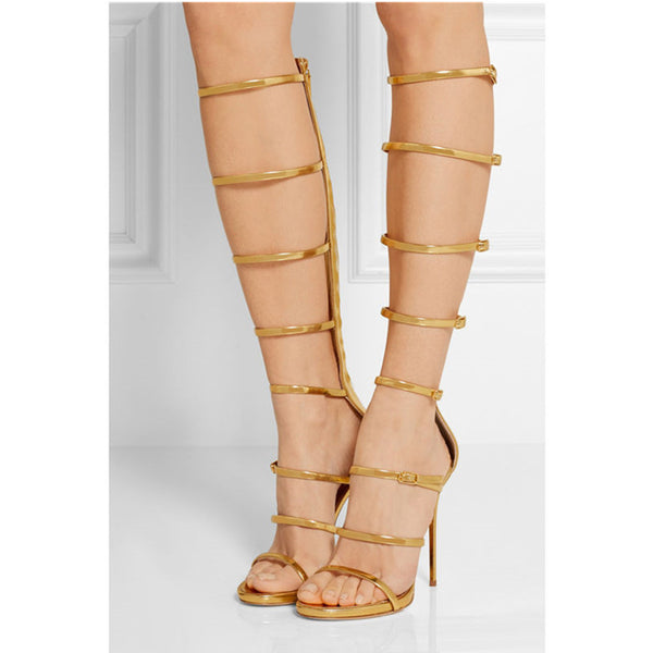 Caged Buckles Gladiator Knee High Heels
