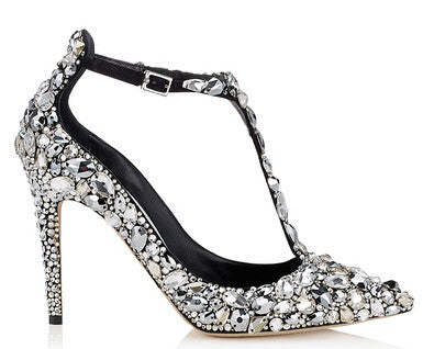 The Wedding Collection Luxurious crystals covered T-strap Heels
