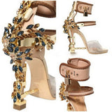 Jeweled Ankle Wrap Rhinestone High Heel Sandals