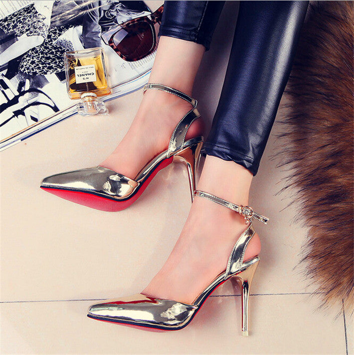f7565fcd8af Red Bottom Metallic Silver Patent Leather Pointed Toe Pumps