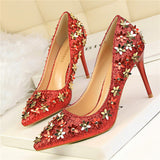 Flowers and Sequins Elegant Pumps