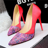 Web of Color Flowered Mesh Pointed Toe Silk Pumps