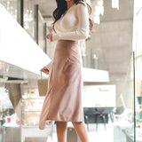 Asymmetrical Skirt and Knitted Faux Wrap Top Set