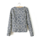 Retro Print Round Neck Embroidered Slim Coat