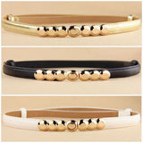 Decorative Gold Tone Alloy Buckle Slim Belt