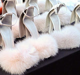 Shield and Faux Fur Chunky Heel Sandals