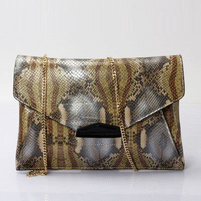 Genuine Leather Snake Skin Envelope Clutch Bag