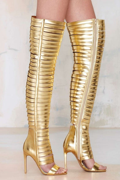 Thigh High Cut-out Motorcycle Boots Cut-out