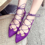 Handmade Suede Cross Tied Flats