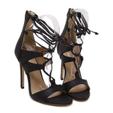 Embossed Leather Roman Style Hollow Cross Lacing Stiletto Gladiator Sandals