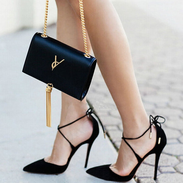 Suede Lace Up high heels Pumps