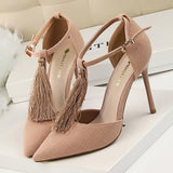 Tassel T-Strap High Heel Pumps